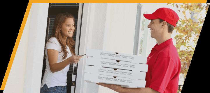 man delivering pizza delivery pos